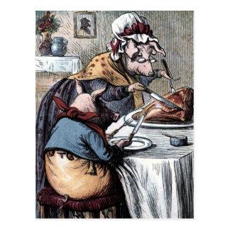 Carte Postale Dessin vintage : Peu de jambon porcin de