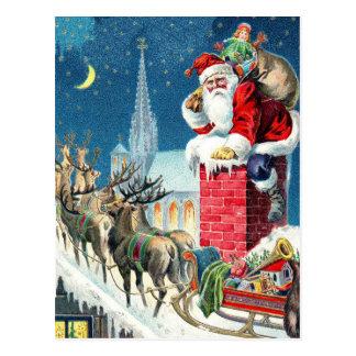 Carte Postale Dessus de toit vintage Père Noël et Noël de Sleigh