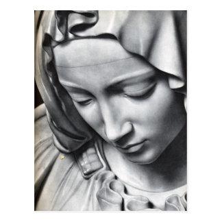 Carte Postale Détail du Pieta de Michaël Angelo du visage de