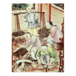 Carte Postale Détail d'un vase dépeignant des artisans