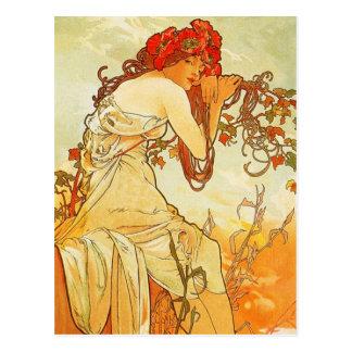 Carte postale d'été d'Alphonse Mucha