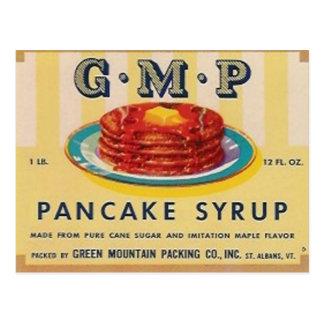 carte postale d'étiquette de sirop de crêpe de gmp