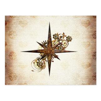 Carte postale d'étoile de boussole de Steampunk