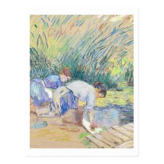 Carte Postale Deux blanchisseuses (en pastel sur le papier)