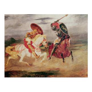Carte Postale Deux chevaliers combattant dans un paysage, c.1824