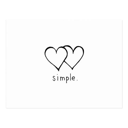 Carte Postale Deux Coeurs Amour Simple Frais Art De Dessin Zazzle Fr