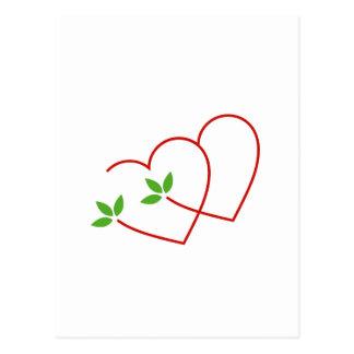 Carte Postale Deux coeurs avec le symbole de feuilles pour le