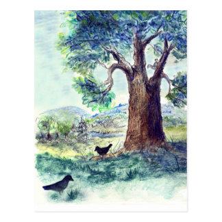 Carte Postale Deux corneilles un jour d'été - crayon d'aquarelle