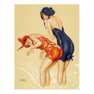 Carte Postale Deux femmes dans des maillots de bain - Pin de cru