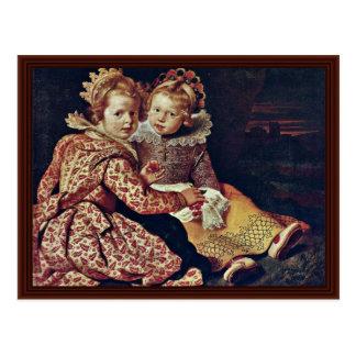 Carte Postale Deux filles du peintre par Vos Cornelis De