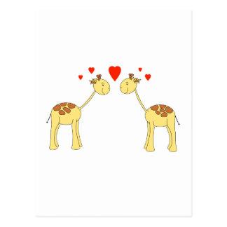 Carte Postale Deux girafes de parement avec des coeurs. Bande