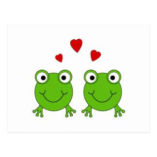 Carte Postale Deux grenouilles vertes avec les coeurs rouges