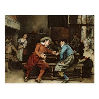 Carte Postale Deux hommes parlant dans une taverne