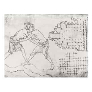 Carte Postale Deux lutteurs, plan d'une église cistercienne