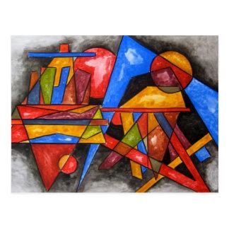 Carte Postale Deux peints à la main géométriques d'art de