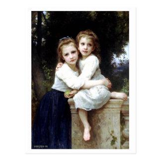 Carte Postale Deux soeurs peignant par William-Adolphe