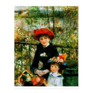Carte Postale Deux soeurs sur la terrasse par Renoir
