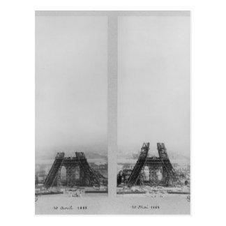 Carte Postale Deux vues de la construction d'Eiffel