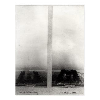 Carte Postale Deux vues de la construction d'Eiffel 2