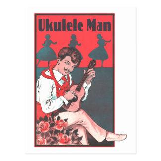 Carte postale d'homme d'ukulélé