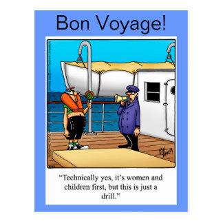 Carte postale d'humour de voyage de fève