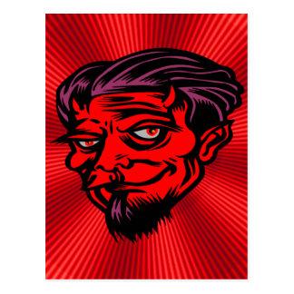 Carte Postale Diable fait face rouge