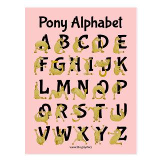 Carte Postale Diagramme flexible d'alphabet du poney |