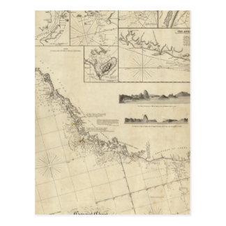 Carte Postale Diagramme général des côtes du Brésil