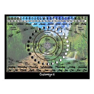 Carte Postale Diagramme païen de pendule de Wiccan