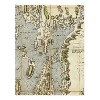 Carte Postale Diagramme topographique de la baie de Narraganset
