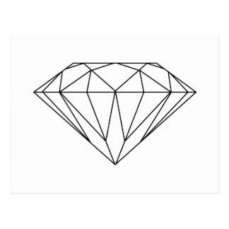 Carte Postale Diamant dessinant moderne noir et blanc