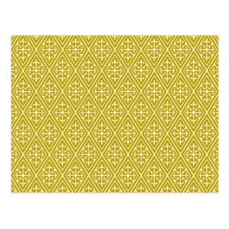 Carte Postale Diamants médiévaux de damassé, or de moutarde