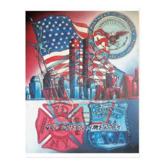 Carte Postale Dieu 911 bénissent l'Amérique