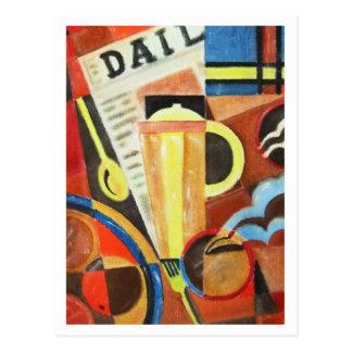 Carte postale d'illustration de café d'art déco