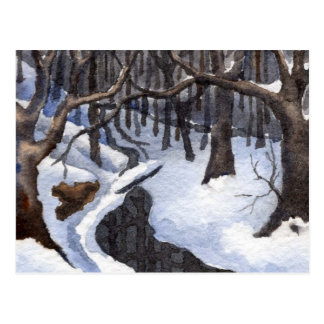 Carte postale d'impression de paysage de neige