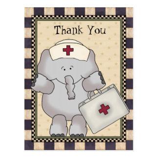 Carte postale d'infirmière d'éléphant de Merci