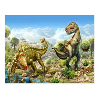Carte Postale Dinosaures combattant Anklosaurus et Tyrannosaurus