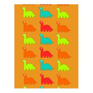 Carte Postale Dinosaures de marche de motif mignon de Dino