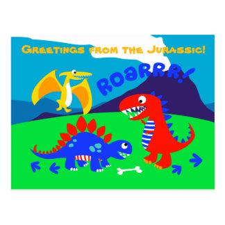 Carte Postale Dinosaures mignons se tenant sur une colline