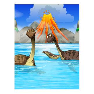 Carte Postale Dinosaures nageant dans le lac