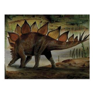 Carte Postale Dinosaures vintages, Stegosaurus, queue avec des