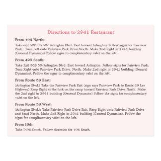 Carte Postale Direction florale de restaurant de rayures de