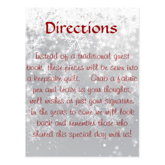 Carte Postale Directions pour le questbook d'édredon