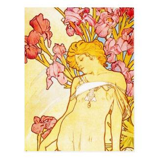 Carte postale d'iris d'Alphonse Mucha