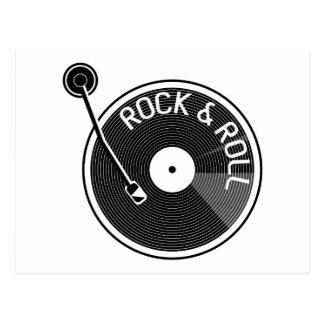 Carte Postale Disque vinyle noir et blanc de rock