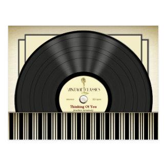 Carte Postale Disque vinyle vintage de microphone personnalisé