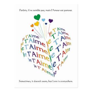 """Carte Postale Dites, """"je t'aime"""" en français/carte postale"""