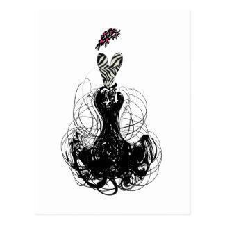 Carte Postale Diva de mode - noire et blanche