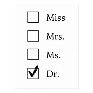 Carte postale d'obtention du diplôme de PhD
