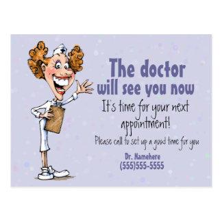 Carte Postale Docteur/carte médicale de rappel de rendez-vous
